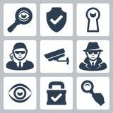 Ícones do espião e da segurança do vetor ajustados Foto de Stock Royalty Free