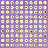 100 ícones do esporte ajustados no estilo dos desenhos animados Fotografia de Stock