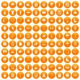 100 ícones do esporte de inverno ajustados alaranjados ilustração royalty free