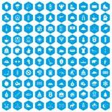 100 ícones do esporte de inverno ajustados azuis ilustração stock