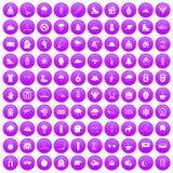 100 ícones do esporte de inverno ajustados roxos ilustração stock