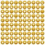 100 ícones do esporte de inverno ajustaram o ouro ilustração stock