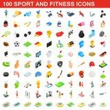 100 ícones do esporte e da aptidão ajustaram-se, estilo isométrico Foto de Stock