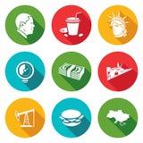 Ícones do Estados Unidos ajustados Ilustração do vetor Fotos de Stock Royalty Free
