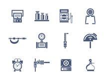 Ícones do estilo do glyph dos instrumentos da medida Fotografia de Stock Royalty Free