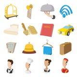 Ícones do estilo dos desenhos animados do hotel ajustados Fotografia de Stock Royalty Free
