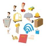 Ícones do estilo dos desenhos animados do hotel ajustados ilustração stock