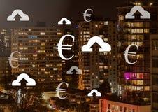 Ícones do Euro e da transferência de arquivo pela rede na cidade Imagens de Stock Royalty Free