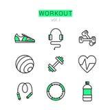 Ícones do exercício ajustados para a Web e as aplicações Foto de Stock Royalty Free