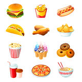 Ícones do fast food Fotografia de Stock Royalty Free