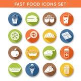 Ícones do fast food Fotografia de Stock