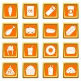 Ícones do fast food ajustados alaranjados ilustração do vetor