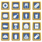 Ícones do fast food ajustados azuis ilustração do vetor
