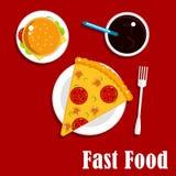 Ícones do fast food com pizza, hamburguer e soda ilustração do vetor