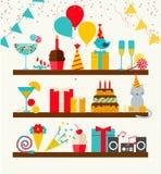 Ícones do feliz aniversario ajustados Imagens de Stock