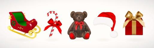 Ícones do feriado de inverno Ajuste do trenó e o chapéu de Santa Claus do Natal, a caixa de presente com fita dourada, o bastão d ilustração royalty free