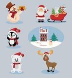 Ícones do feriado do Natal e do ano novo fotos de stock
