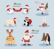Ícones do feriado do Natal e do ano novo Imagens de Stock