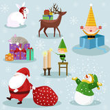 Ícones do feriado do Natal e do ano novo Imagem de Stock