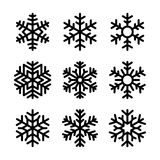 Ícones do floco de neve ajustados no fundo branco Vetor Imagens de Stock Royalty Free