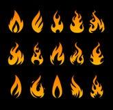 Ícones do fogo do vetor Imagens de Stock