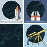 Ícones do foguete do cosmos da prata do vetor de Digitas ilustração royalty free