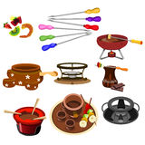 Ícones do fondue ilustração royalty free