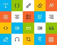 Ícones do formato e da edição. Liso Fotografia de Stock