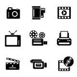 Ícones do foto-vídeo do computador Fotografia de Stock