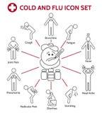 Ícones do frio e da gripe ilustração royalty free