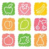 Ícones do fruto stylized ilustração stock