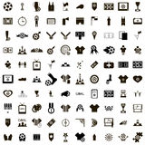 100 ícones do futebol ajustados ilustração royalty free