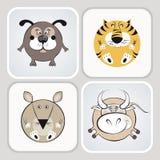 Ícones do gato, do cão, do rato e da vaca Fotografia de Stock