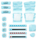 Ícones do gelo e do vidro dos desenhos animados para o jogo de Ui Imagens de Stock Royalty Free