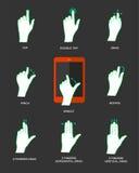 Ícones do gesto para dispositivos do toque Imagem de Stock