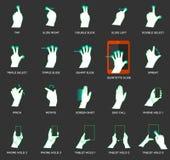 Ícones do gesto para dispositivos do toque Fotos de Stock