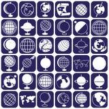 Ícones do globo Fotos de Stock Royalty Free