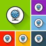 Ícones do globo com sombra longa Foto de Stock