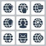 Ícones do globo do vetor ajustados Imagem de Stock