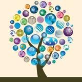 Ícones do globo na árvore Imagens de Stock Royalty Free