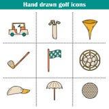 Ícones do golfe ilustração stock