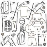Ícones do golfe ajustados no estilo dos desenhos animados Fotos de Stock Royalty Free