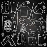 Ícones do golfe do carvão vegetal ajustados no estilo dos desenhos animados Fotografia de Stock Royalty Free