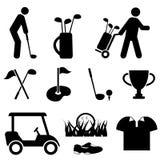Ícones do golfe e do jogador de golfe Fotos de Stock