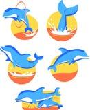 Ícones do golfinho Fotografia de Stock