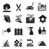 Ícones do gramado da silhueta Imagens de Stock
