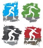 ícones do grunge da patinagem e do skate da Em-linha Fotos de Stock
