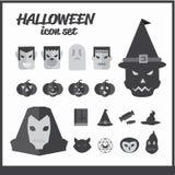 ícones do grupo do tema de Dia das Bruxas Imagens de Stock