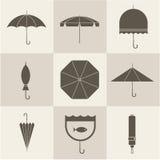 Ícones do guarda-chuva Fotografia de Stock