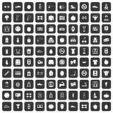100 ícones do gym ajustados pretos ilustração stock
